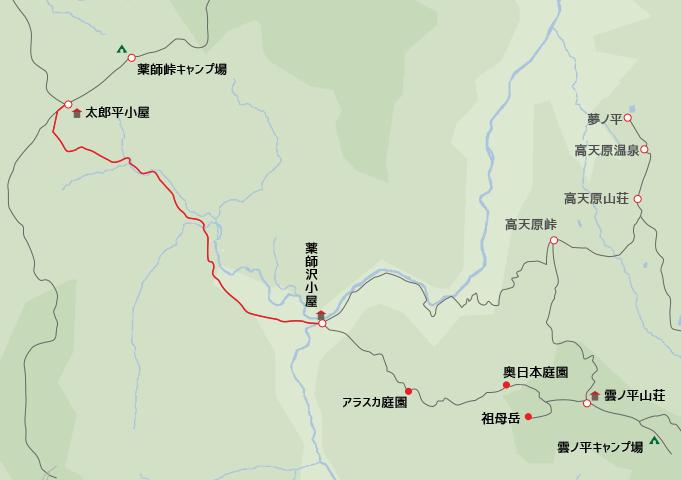 地図太郎平小屋から薬師沢小屋