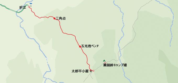 地図折立から太郎平小屋