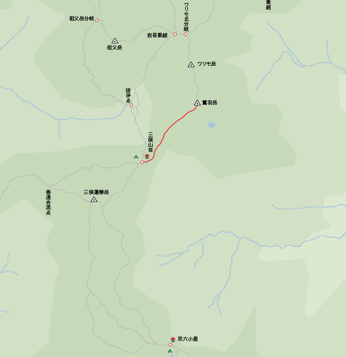 地図鷺羽岳から三俣山荘