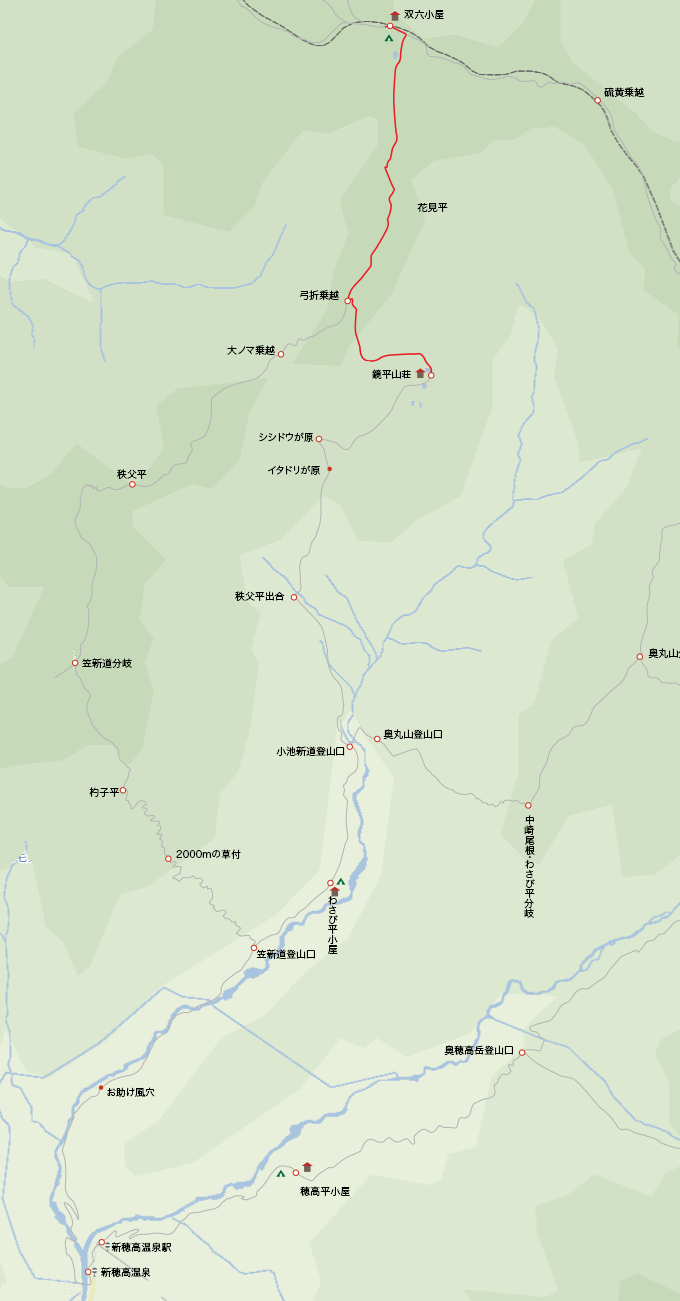 地図双六小屋から鏡平山荘