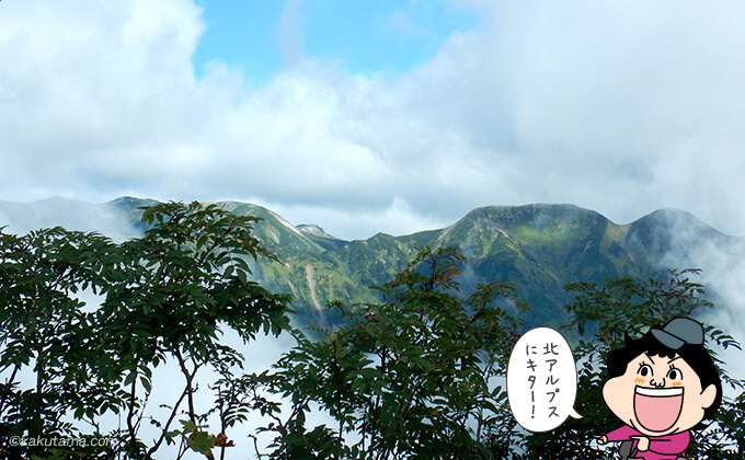 奥丸山山頂から見える笠ヶ岳