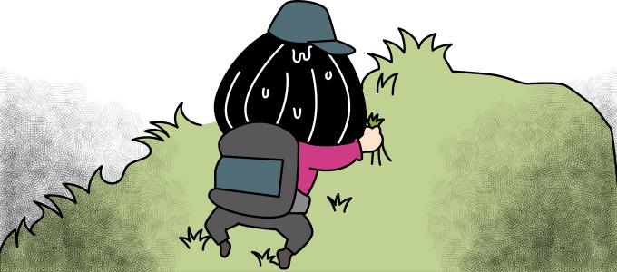 草に捕まるイラスト