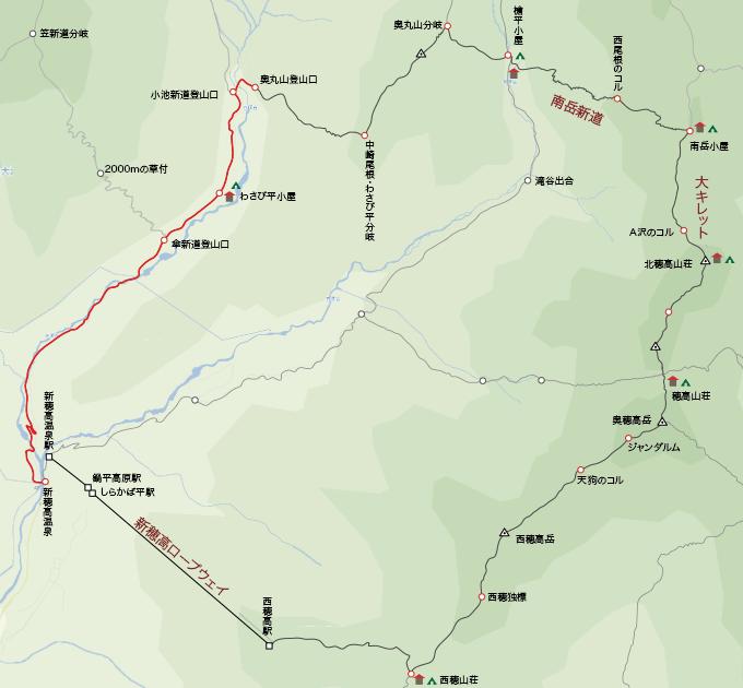 地図新穂高温泉から奥丸山登山口