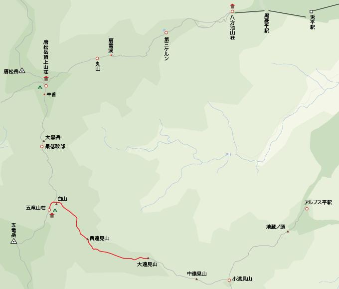 地図五竜山荘から大遠見まで