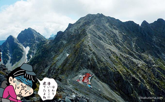 涸沢岳山頂からみる穂高山荘