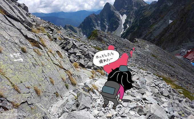 涸沢岳から穂高山荘へ下山