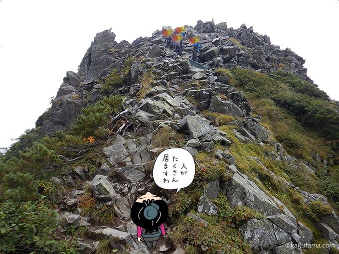 西穂独標への登りも険しい