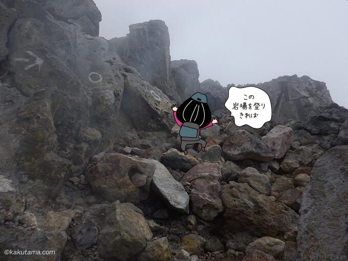 分岐点からちょっと激しくなった岩場