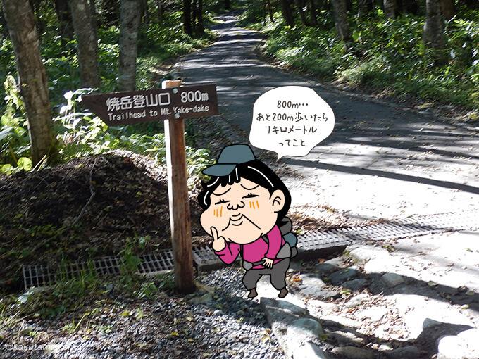 焼岳登山口への看板