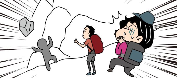 落ちてくる岩