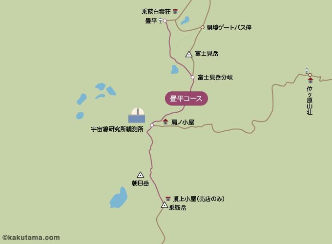 乗鞍岳の登山コースのイラスト