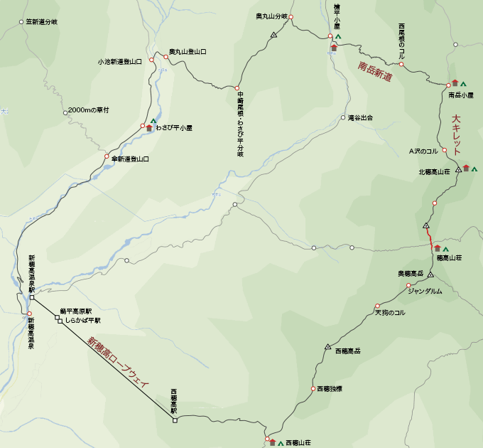 地図涸沢岳から穂高山荘