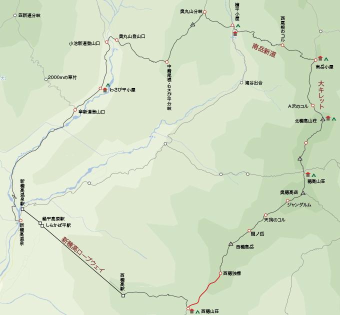 地図西穂独標から西穂高山荘