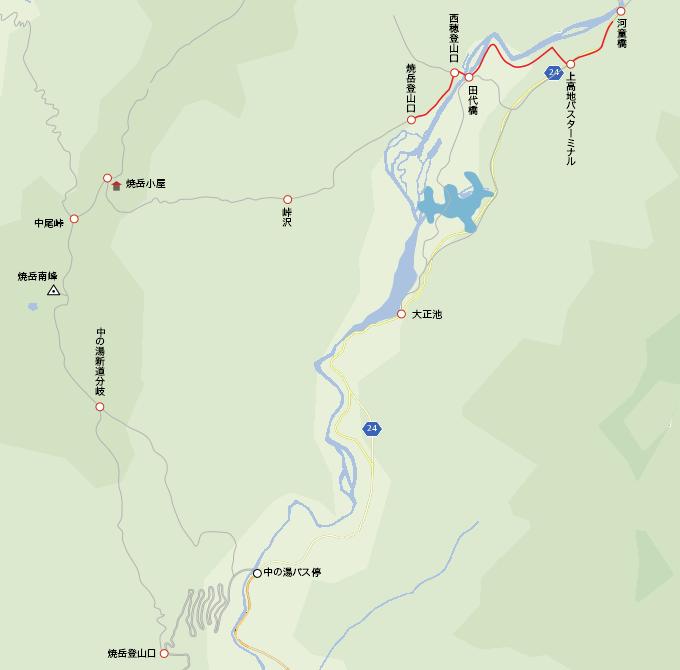 地図焼岳登山口から河童橋