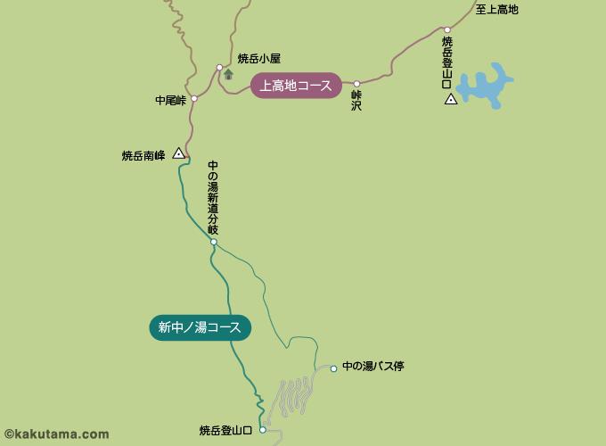 焼岳の登山コースのイラスト
