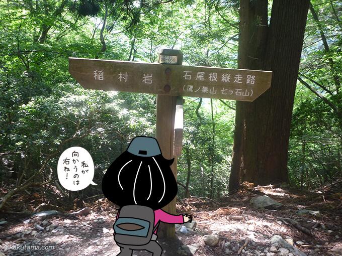 稲村岩と鷹ノ巣山への分岐点