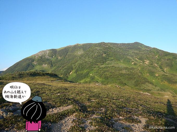 朝日小屋から見る朝日岳
