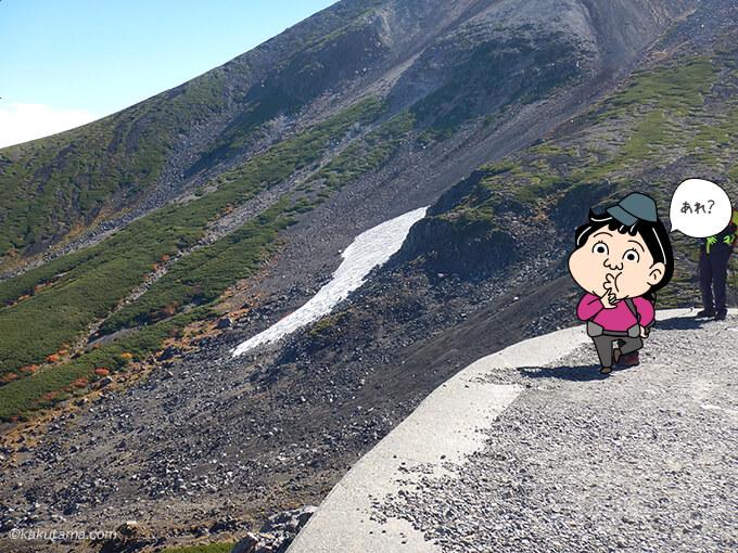 帰り道に雪渓が気になる