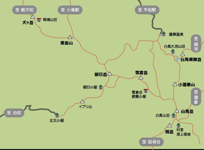 朝日岳のコースマップ