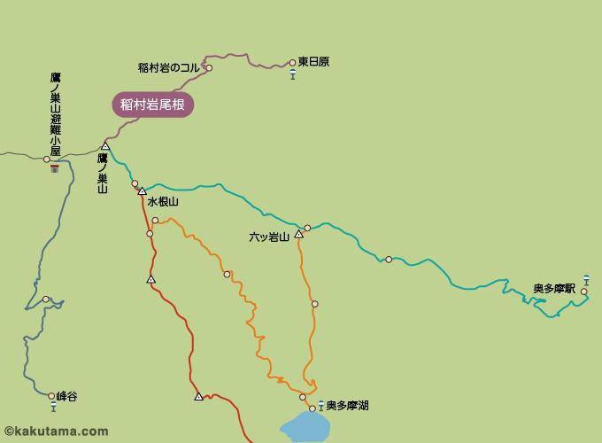 鷹ノ巣山のコースマップ