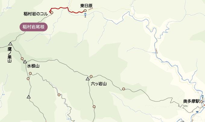 地図登山口から稲村岩