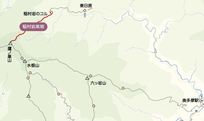 地図稲村岩から鷹ノ巣山山頂