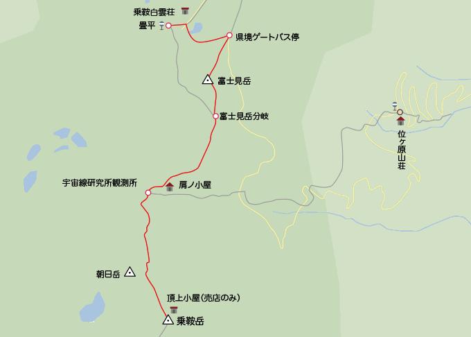 地図剣ヶ峰から畳平までの下山