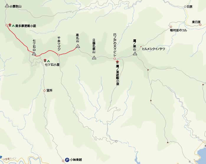 地図高丸山から奥多摩小屋