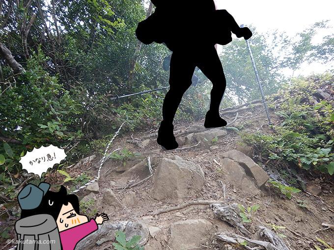 再び急な登り
