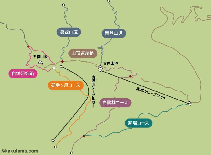 筑波山のコースマップ
