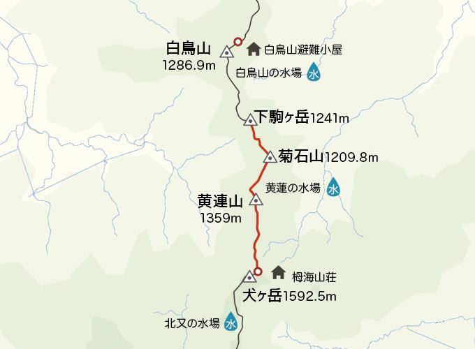 地図栂海山荘から下駒ケ岳まで