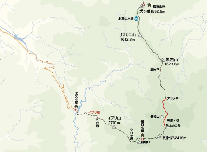 地図栂海新道入り口からアヤメ平