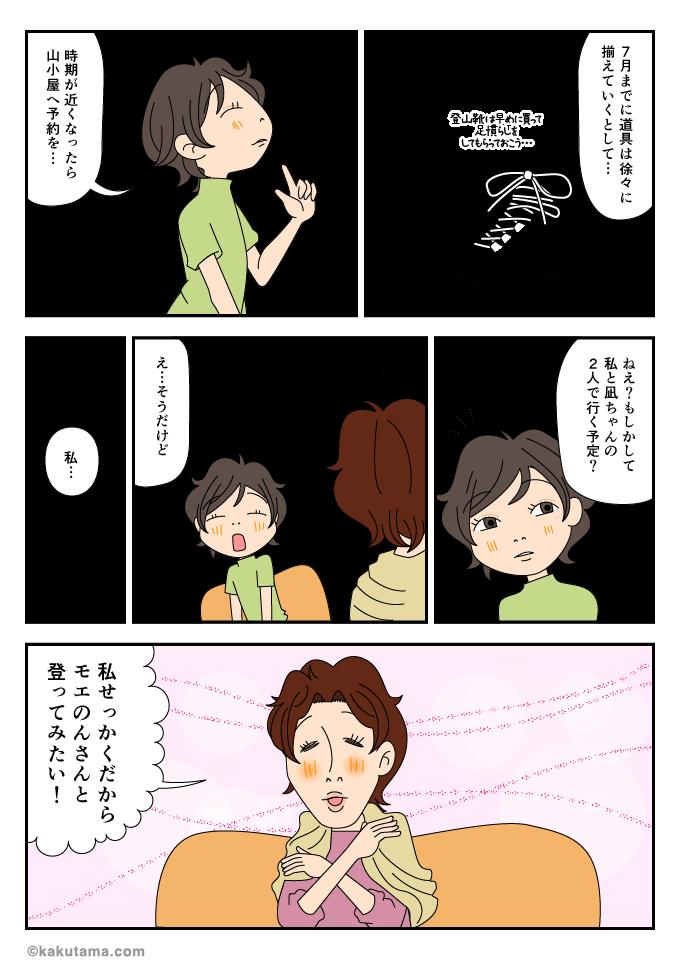 富士登山を誰と行くか相談しているマンガ