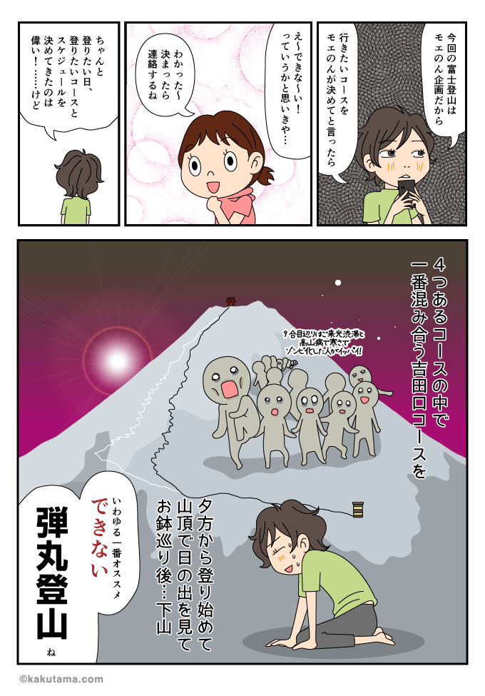 吉田口コースから弾丸登山をすることになったマンガ