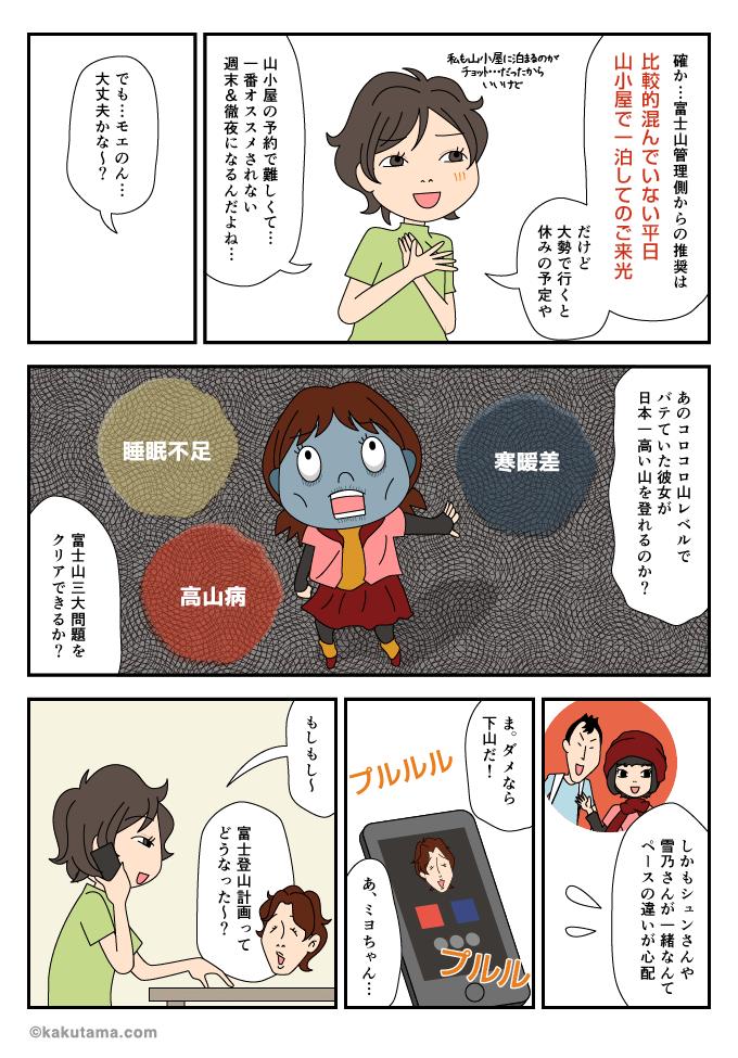 富士山特有の高山病、睡眠不足、気温差を気にしているマンガ