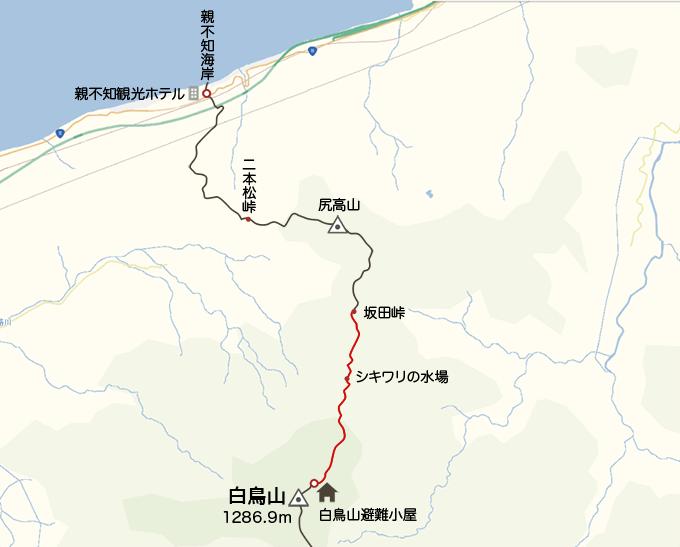 地図白鳥避難小屋から坂田峠