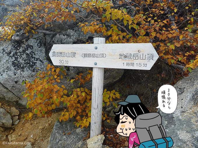 観音岳と薬師岳への道標