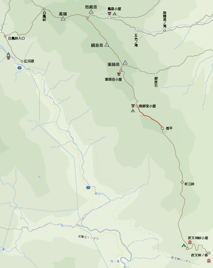 地図南御室小屋から苺平