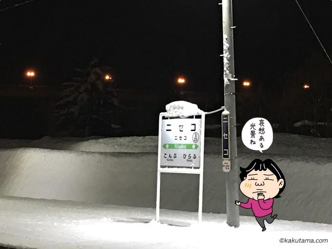 ニセコ駅の停車看板