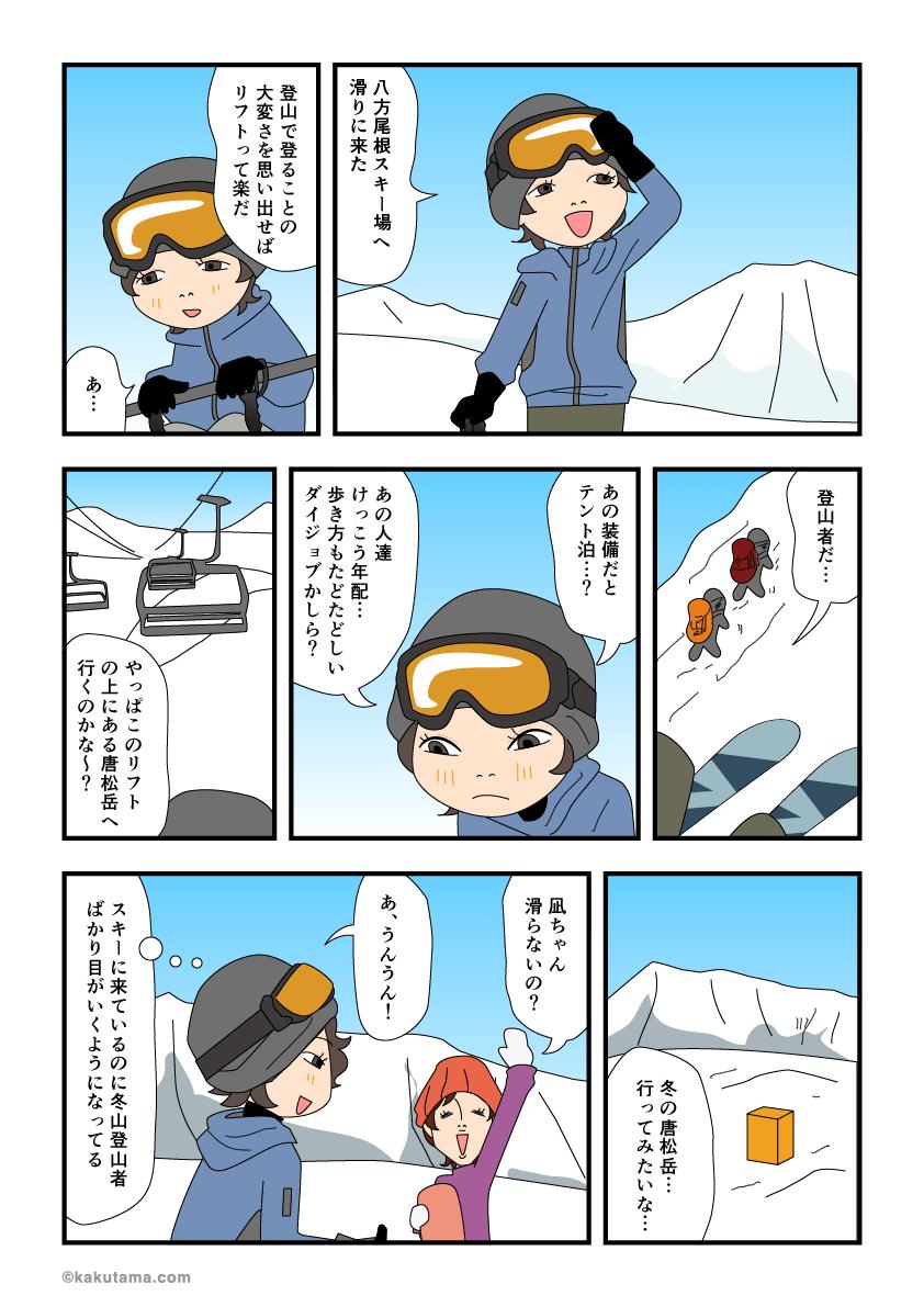 登山好きがスキー場にくるとスキーより登山者をみてしまうマンガ