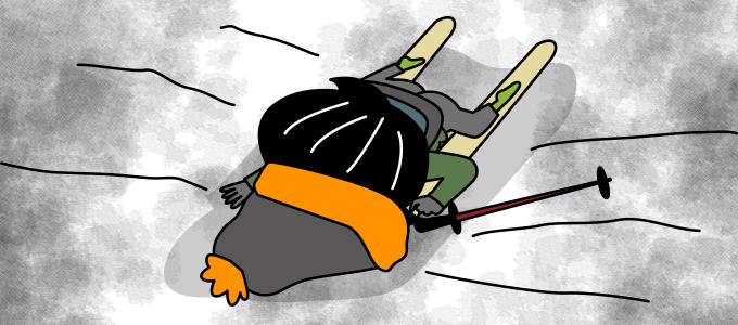 スキーで転んだイラスト