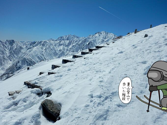 夏の登山道がちらりと見える