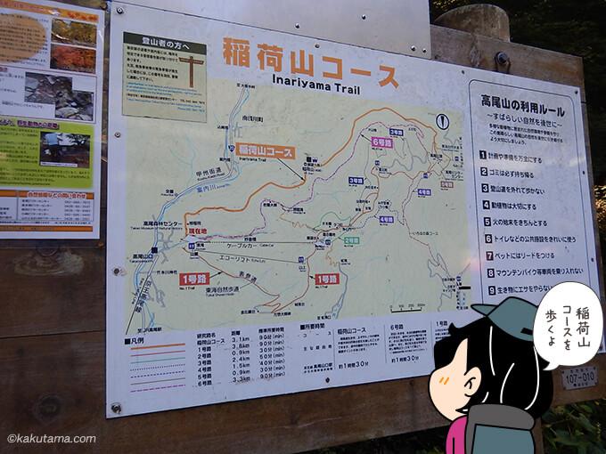 稲荷山コースの地図