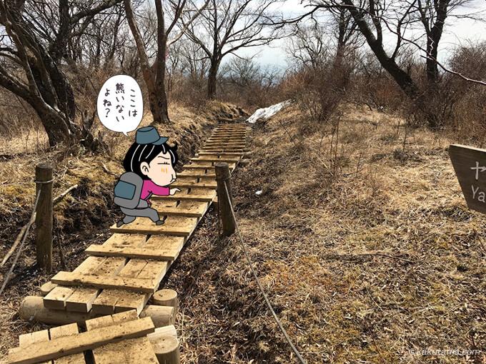 木道を登っていく