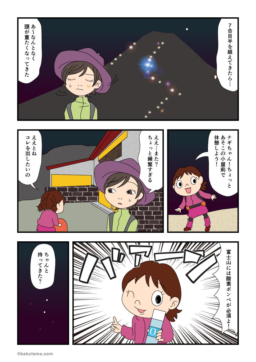 富士山必須アイテム酸素ボンベを取り出すマンガ
