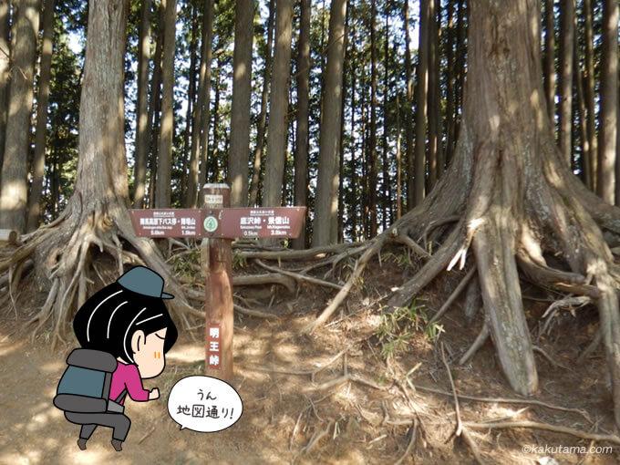 明王峠の道標