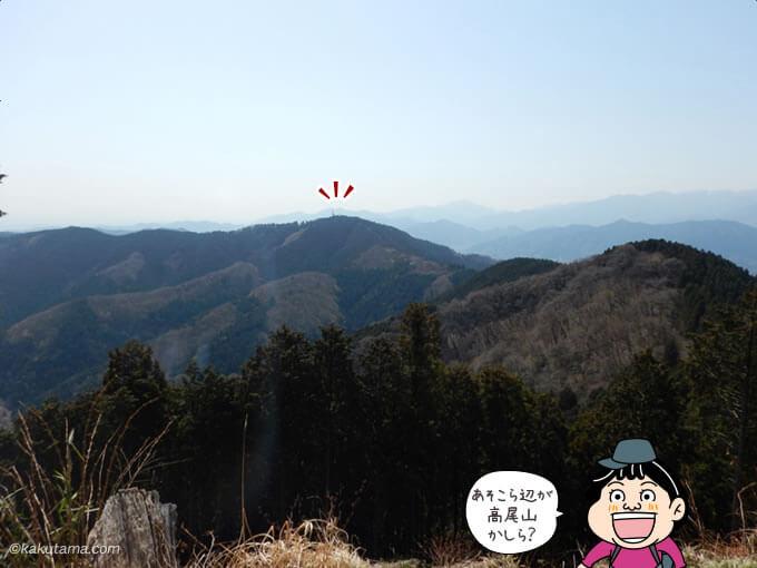遠くに見える高尾山