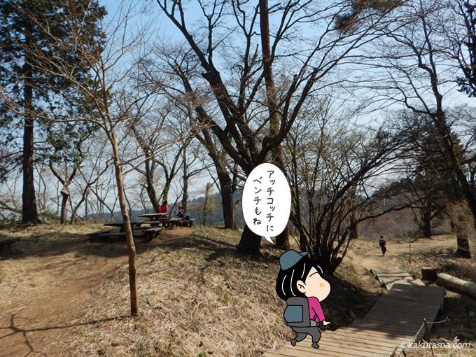 木の階段とベンチ