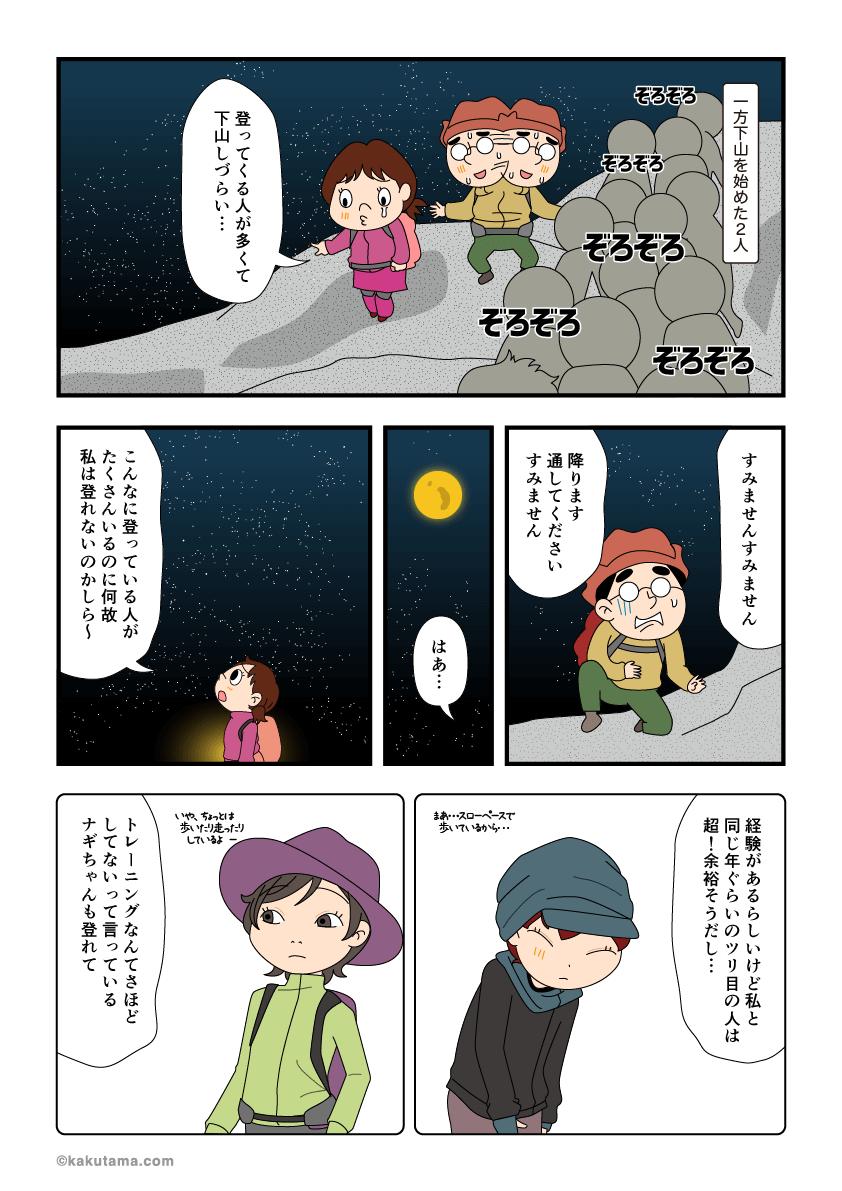 富士登山から途中撤退して下山している漫画