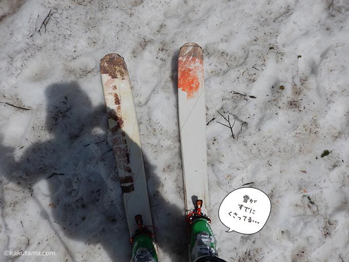 スキーシールをつけて登る